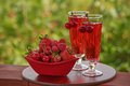 Red berries and red drink glasses