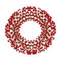 Red Berry Christmas Wreath isolated on White Background. Vector Illustration Royalty Free Stock Photo