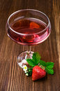 Red beverage with strawberry Royalty Free Stock Photo