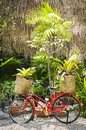 Red bicycle decorated with plants Royalty Free Stock Photography