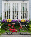 Red bicycle parked with beautiful flowers adorn the windows Stock Photos