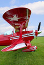 Red Biplane wing view Royalty Free Stock Photo