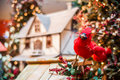 Red bird on Christmas tree Stock Photo