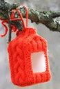Red bird feeder Royalty Free Stock Photo