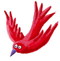 Red bird flying down Stock Image