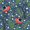 Red Bird Seamless Pattern. Blue Background with spruce, fir and trees. Bullfinch Seamless Pattern.