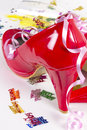 Red birthday shoes at a party Royalty Free Stock Images