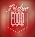 Red bistro poster sign text banner illustration design Stock Image