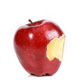 Red bitten apple Stock Photo