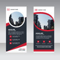 Red black abstract Business Roll Up Banner flat design template