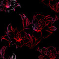 Red and black alstroemeria floral seamless pattern texture background vector