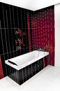 Red and black bathroom Stock Photo