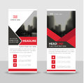 Red black Business Roll Up Banner flat design template ,Abstract Geometric banner template Vector illustration set