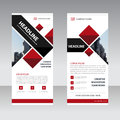 Red black Business Roll Up Banner flat design template ,Abstract