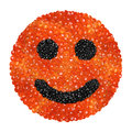 Red and black caviar in the form of a smiling face on a white background Stock Photo