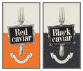 Red and black caviar two labels with fork Stock Photos