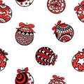 Red and black Christmas balls seamless pattern on white background. Royalty Free Stock Photo
