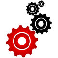 Red and black cogs on a white background vector illustration Stock Image