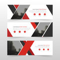 Red black corporate business banner template, horizontal advertising business banner layout template flat design set