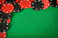Red and black gambling chips Royalty Free Stock Images