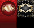 Red, Black  And Gold Ornate Banner. Royalty Free Stock Images
