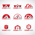 Red and black Home logo set vector design Royalty Free Stock Photo