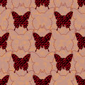 Red and black jeans butterflies and their silhouettes in pastel background with golden curls. Seamless pattern.