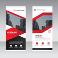 Red black label Business Roll Up Banner flat design template