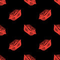 Red and black lips sketched seamless pattern texture background vector