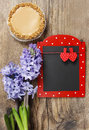 Red and black memo board with clothes pegs in heart shape Stock Image