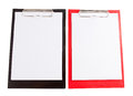 Red and black plastic clipboard with blank paper sheet