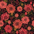 Red and black poppy flowers seamless pattern vector background with hand drawn floral elements Royalty Free Stock Photos