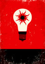 Red and black poster with bulb Stock Image