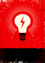 Red and black poster with bulb and lightning Stock Image