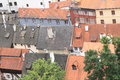 Red and black roofs in cesky krumlov of old houses town czech republic Royalty Free Stock Images