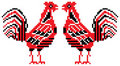 Red and black roosters Stock Photography
