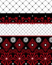 Red and black seamless lace pattern with fishnet on white background Royalty Free Stock Photo