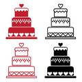 Red and black set of cake with heart for Valentine`s Day. Vector illustration