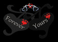 Red Black Silver Heart Chained Forever Yours Royalty Free Stock Image