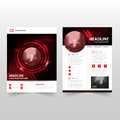 Red black technology Vector annual report Leaflet Brochure Flyer template design, book cover layout design Royalty Free Stock Photo