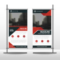 Red black triangle Business Roll Up Banner flat design template ,Abstract Geometric banner template Vector illustration set