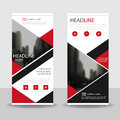 Red black triangle Business Roll Up Banner flat design template ,Abstract Geometric banner template Vector illustration set,