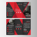 Red black triangle business trifold Leaflet Brochure Flyer report template vector minimal flat design set, abstract three fold