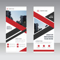 Red black triangle label Business Roll Up Banner flat design template ,Abstract Geometric banner template vector