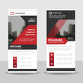 Red black triangle roll up business brochure flyer banner design , cover presentation abstract geometric background,