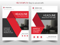 Red black Vector annual report Leaflet Brochure Flyer template design, book cover layout design, abstract business presentation Royalty Free Stock Photo