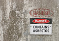 Red, black and white Danger, Contains Asbestos warning sign Royalty Free Stock Photo