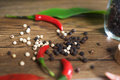 Red black and white peppers background Royalty Free Stock Photo
