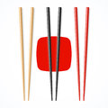Red, black, wooden chopsicks Stock Photo