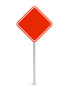 Red blank rectangle traffic sign isolated on white d illustration Stock Photos